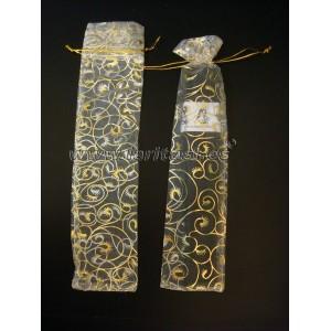Fundas blanca y dorada para abanicos 23cm (12 piezas)