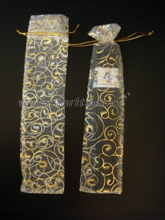 Fundas blanca y dorada para abanicos 23cm (60 piezas)