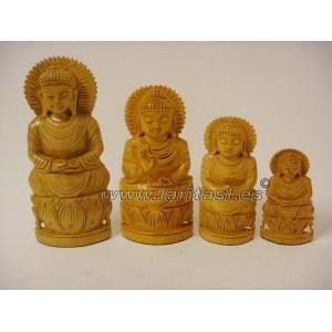 """Budha meditando sobre lotus claro 3"""" (8cm)"""