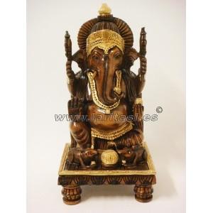 Ganesh sentado madera 30cm