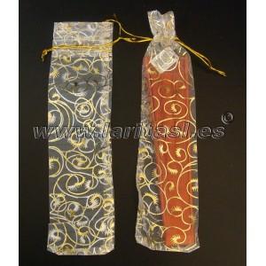 Fundas blanca y dorada para abanicos 19cm (12 piezas)