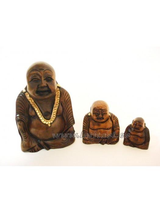 "Budha sentado sonriendo madera 3"" (7,5cm)"