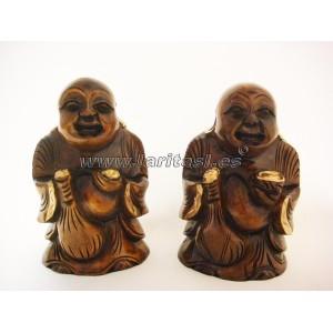 Budha de pie sonriendo madera 15cm
