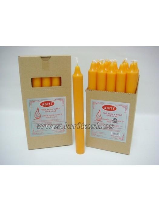 Vela Color Naranja 20cmx2cm +/- 8h