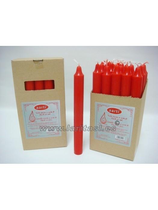 Vela Color Rojo 20cmx2cm +/- 8h