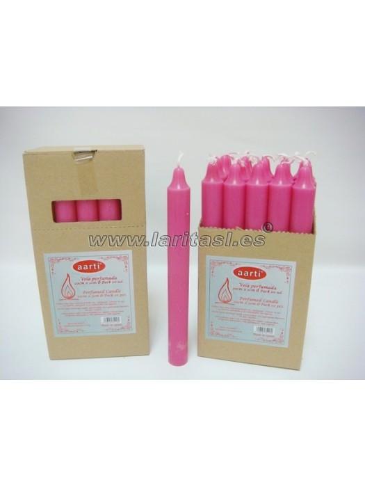 Vela Perfumada Rosa 20cmx2cm +/- 8h