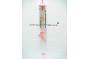 Wooden colours windchime Hearts Pink