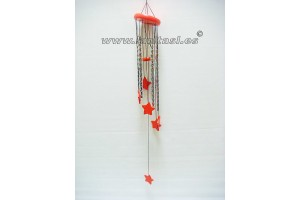 Wooden colours windchime Stars Red