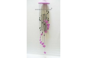 Wooden colours windchime Hearts Large Purple